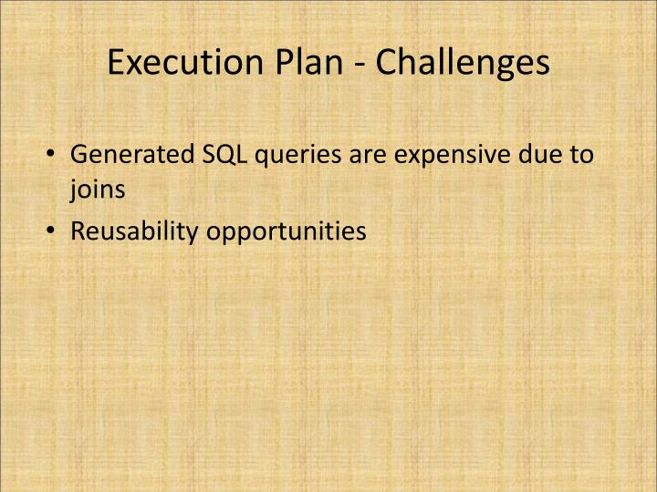 Execution Plan - Challenges