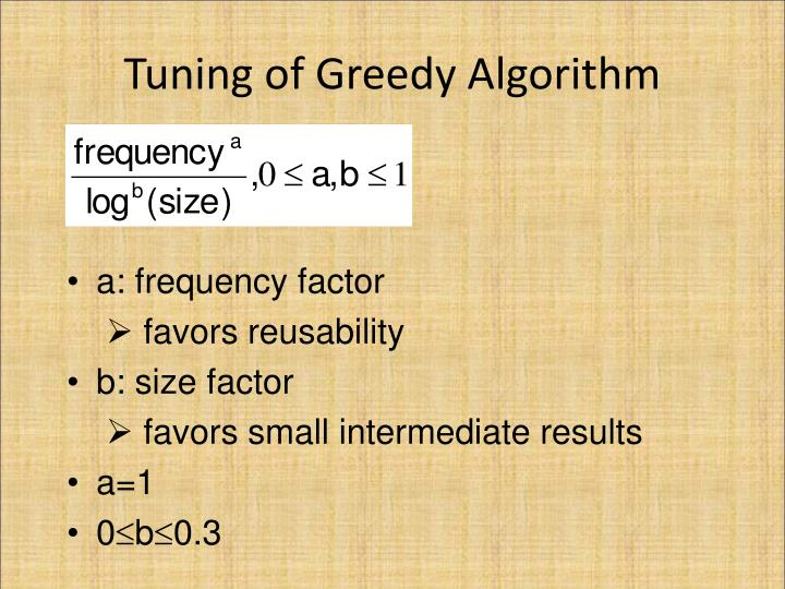 Tuning of Greedy Algorithm