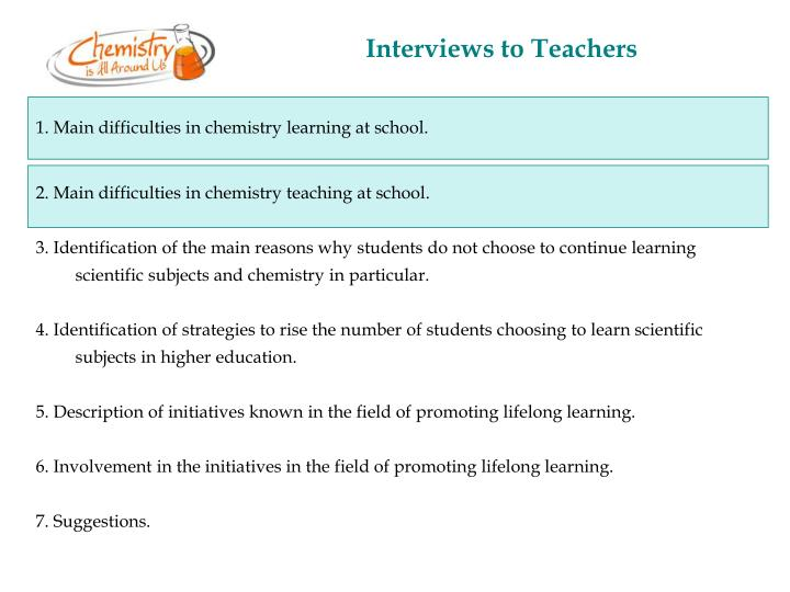 Interviews to Teachers