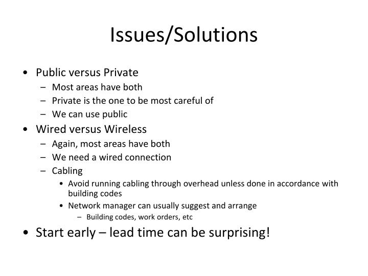 Issues/Solutions