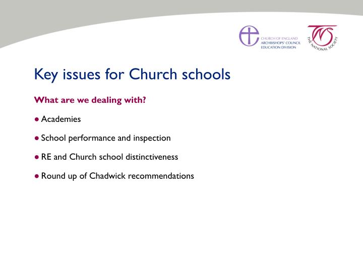Key issues for Church schools