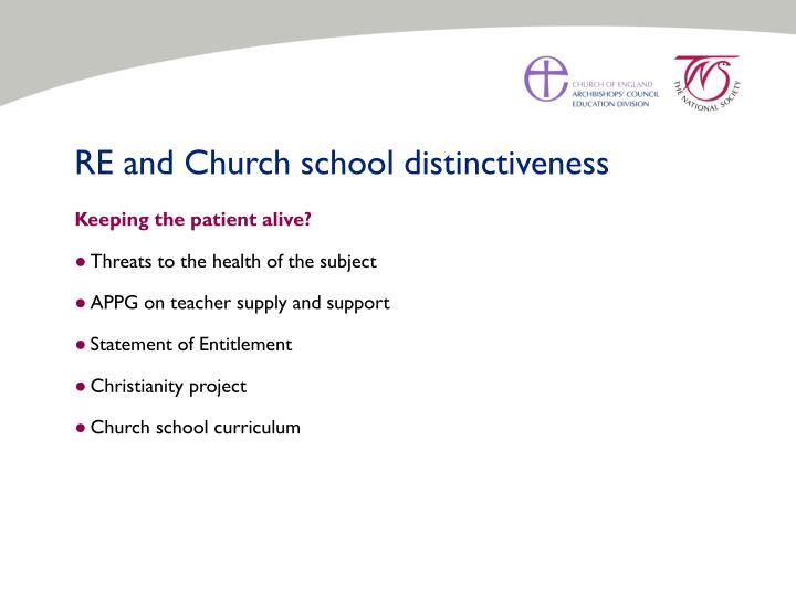 RE and Church school distinctiveness