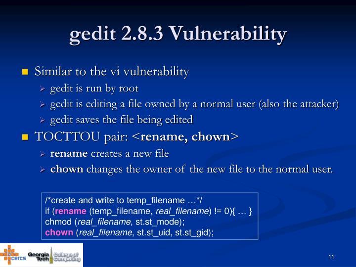gedit 2.8.3 Vulnerability