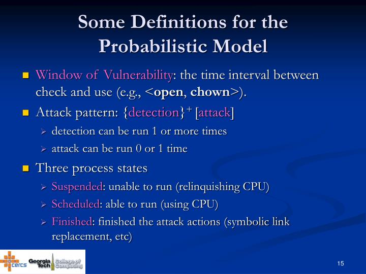 Some Definitions for the Probabilistic Model