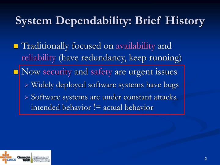 System Dependability: Brief History