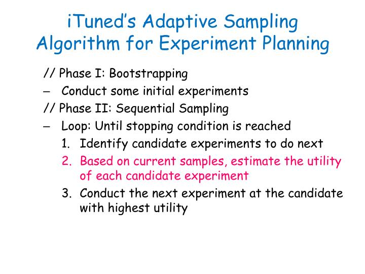 iTuned's Adaptive Sampling Algorithm for Experiment Planning