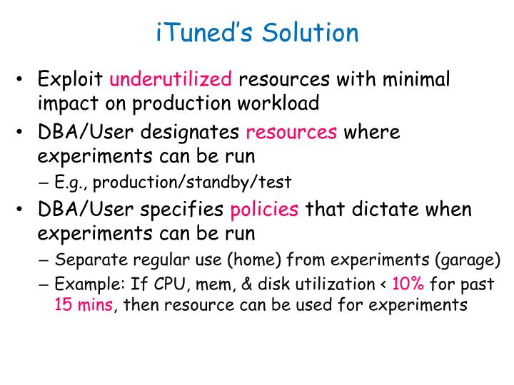 iTuned's Solution