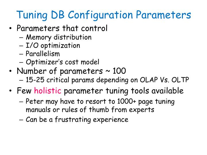 Tuning DB Configuration Parameters
