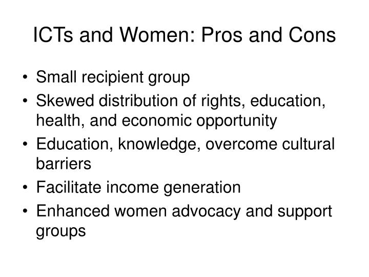 ICTs and Women: Pros and Cons