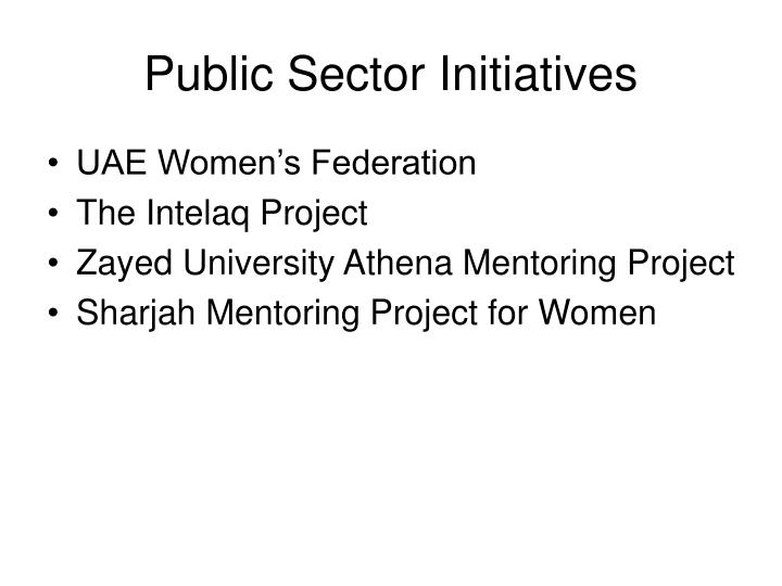 Public Sector Initiatives