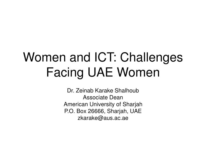Women and ict challenges facing uae women