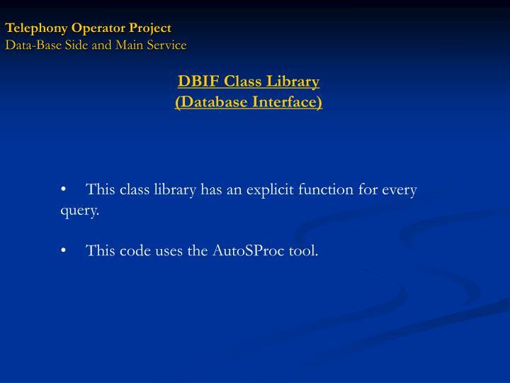 DBIF Class Library
