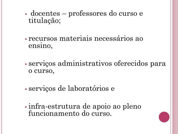 docentes – professores do curso e titulação;