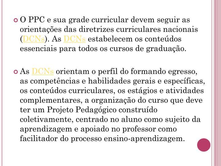 O PPC e sua grade curricular devem seguir as orientações das diretrizes curriculares nacionais (