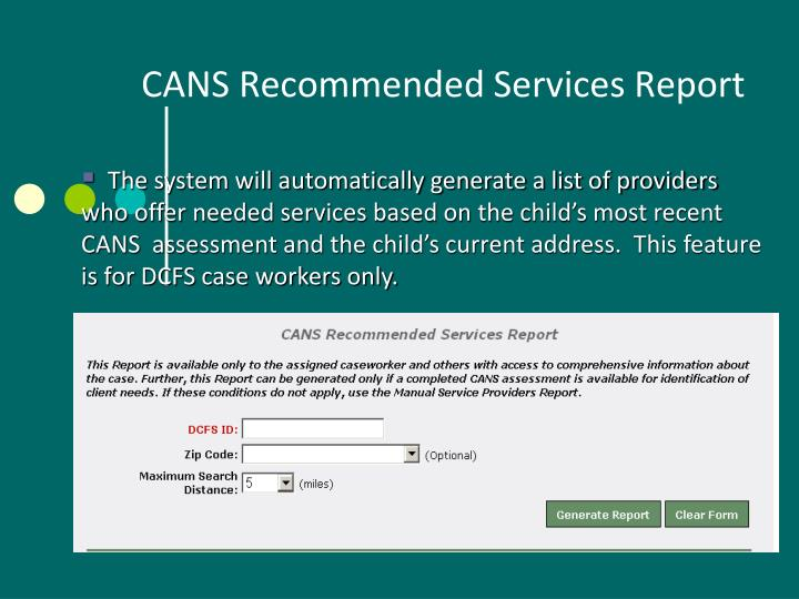 CANS Recommended Services Report