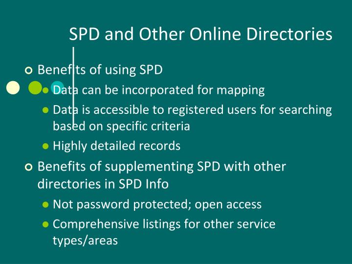 SPD and Other Online Directories