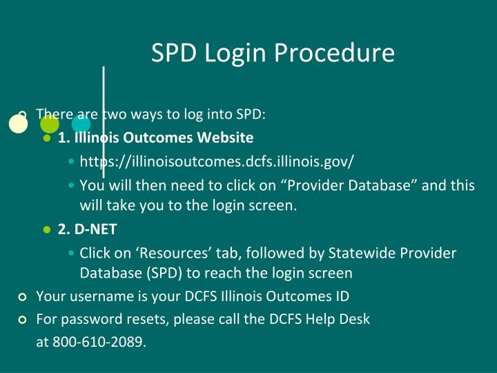SPD Login Procedure