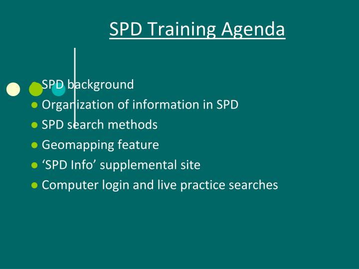 Spd training agenda