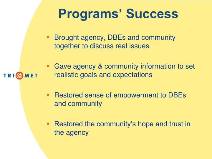 Programs' Success