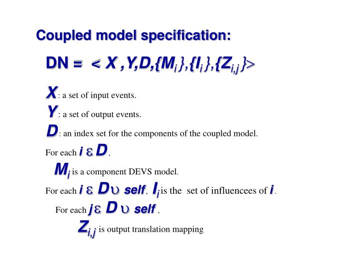 Coupled model specification: