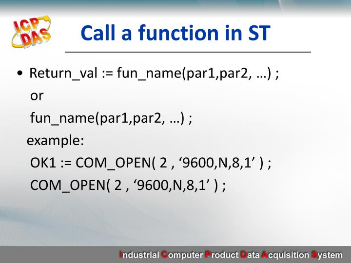 Call a function in ST
