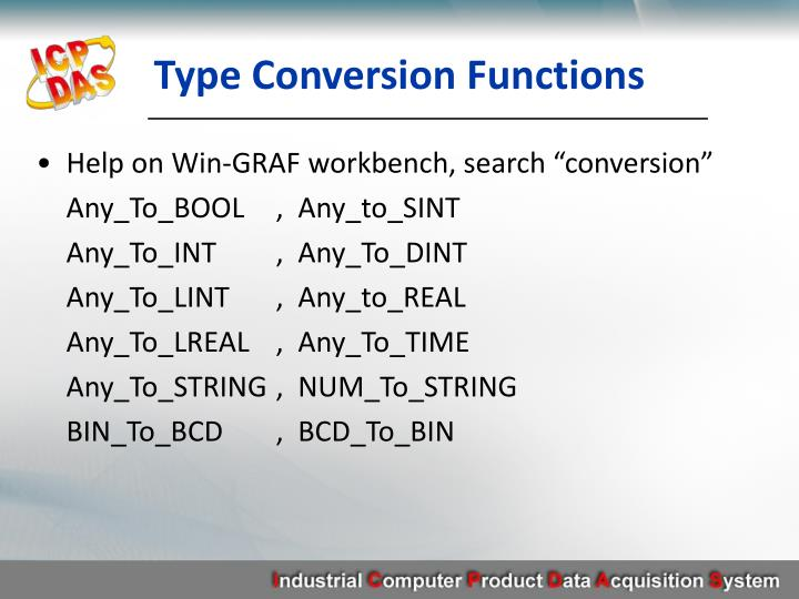 Type Conversion Functions