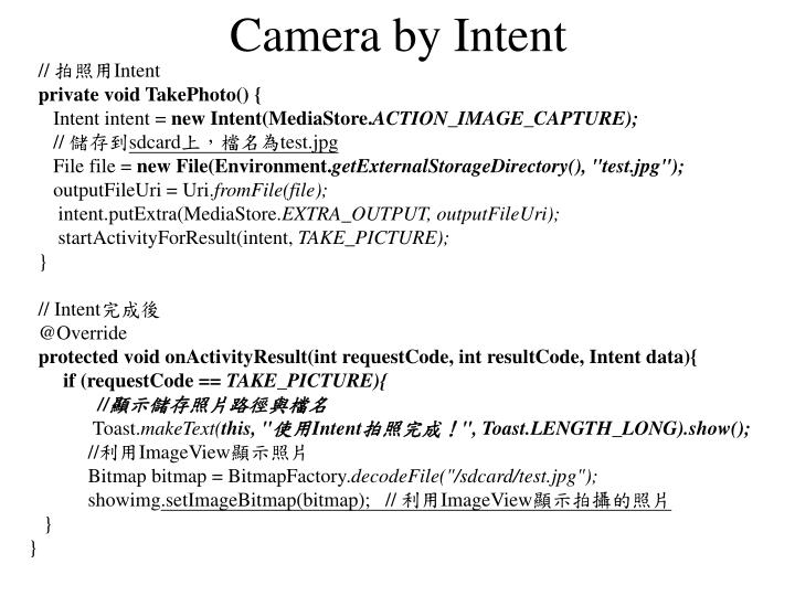Camera by Intent