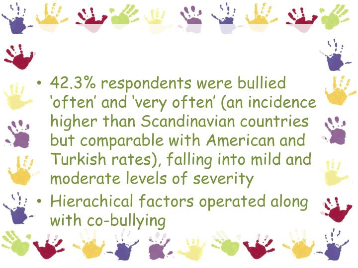 42.3% respondents were bullied 'often' and 'very often' (an incidence higher than Scandinavian countries but comparable with American and Turkish rates), falling into mild and moderate levels of severity