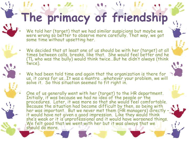 The primacy of friendship
