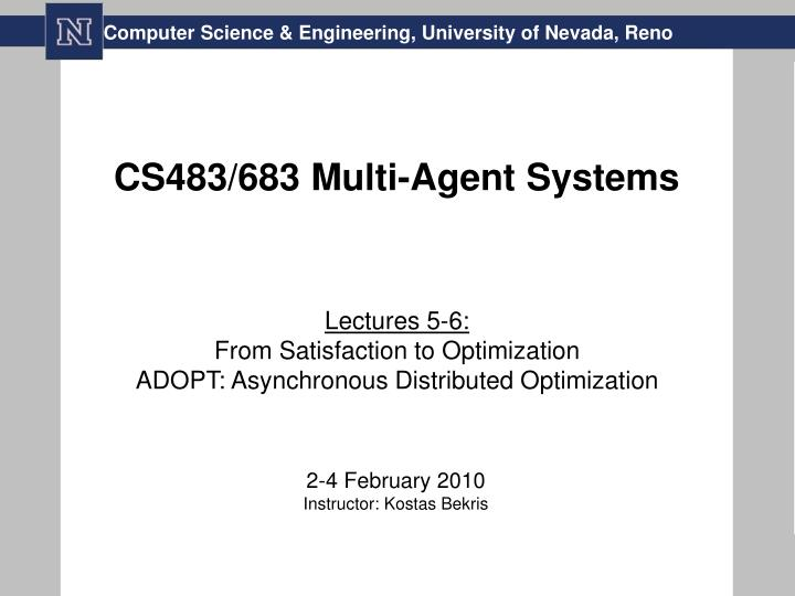 Cs483 683 multi agent systems