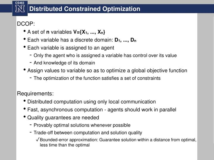 Distributed constrained optimization