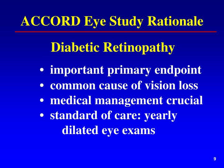 ACCORD Eye Study Rationale