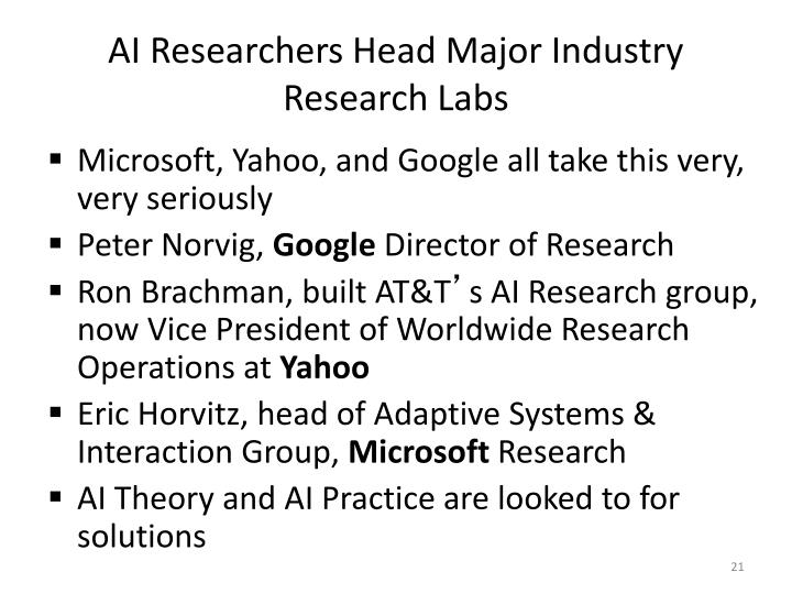 AI Researchers Head Major Industry Research Labs
