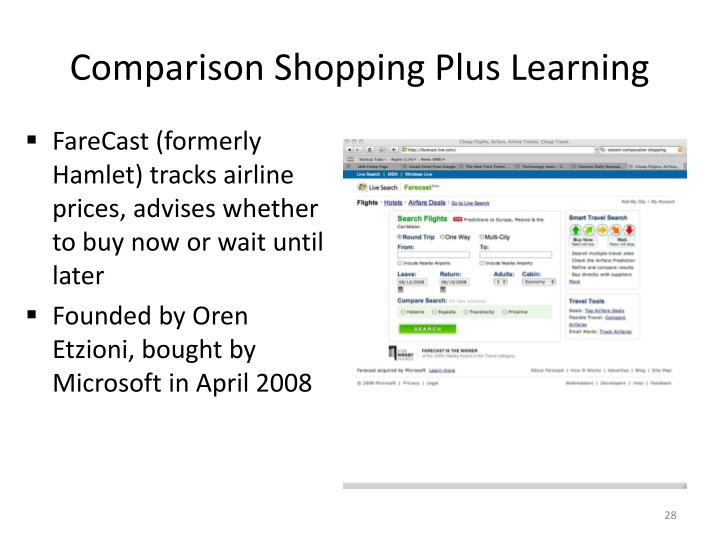 Comparison Shopping Plus Learning