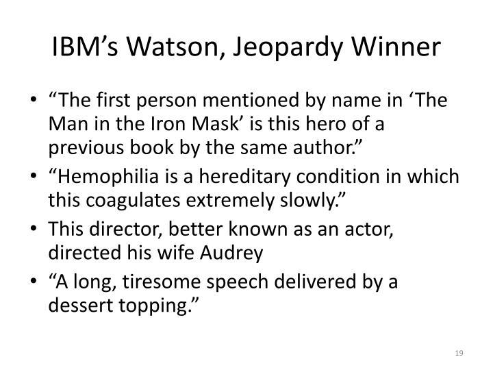 IBM's Watson, Jeopardy Winner