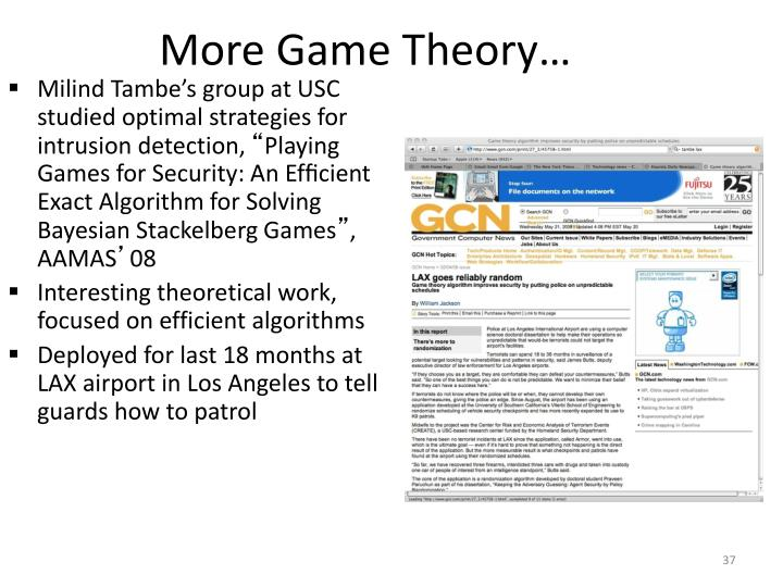 More Game Theory…