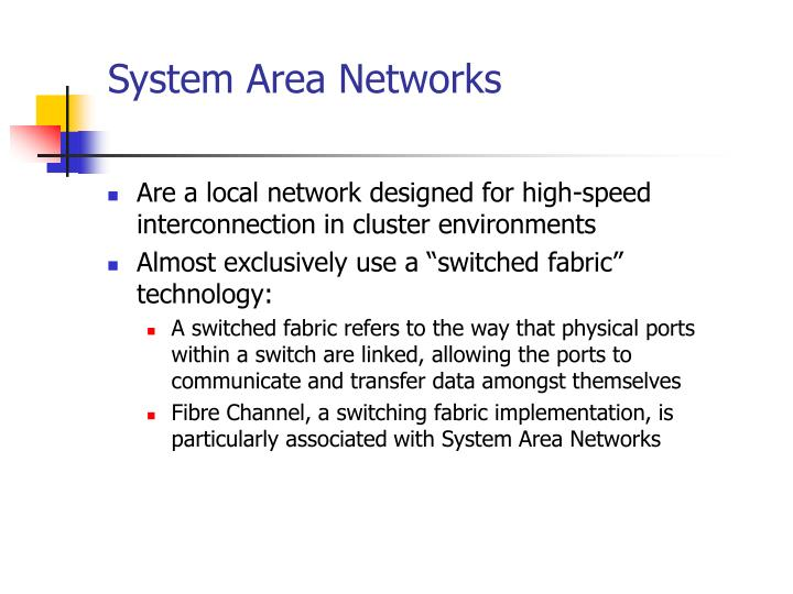 System Area Networks