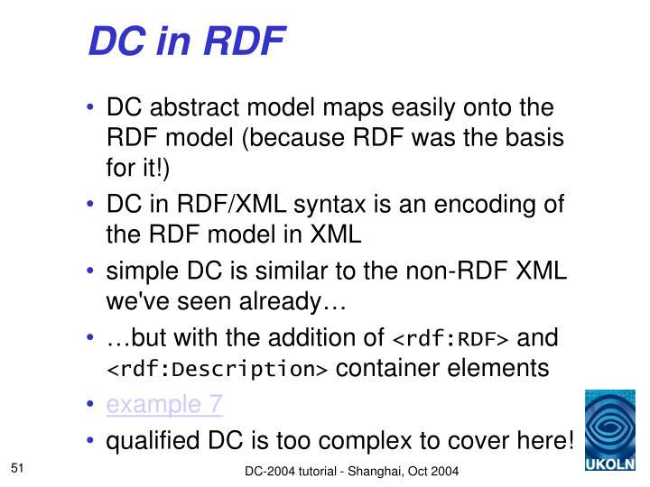 DC in RDF
