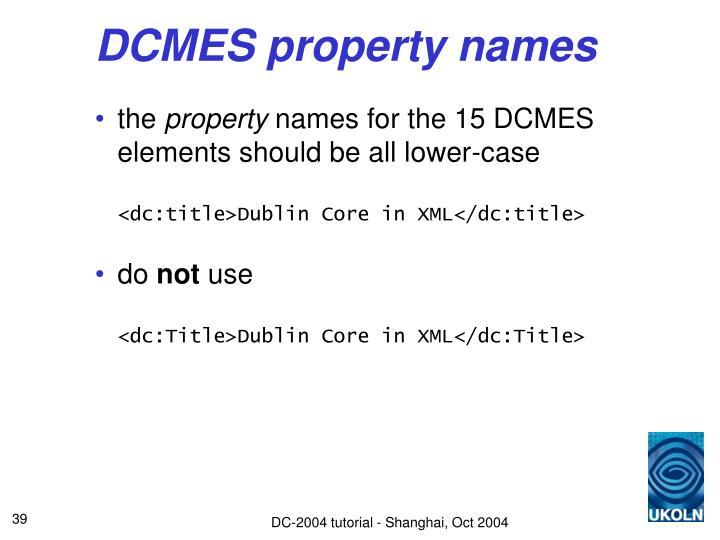 DCMES property names