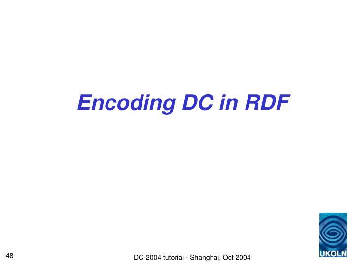 Encoding DC in RDF