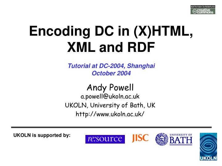 Encoding dc in x html xml and rdf