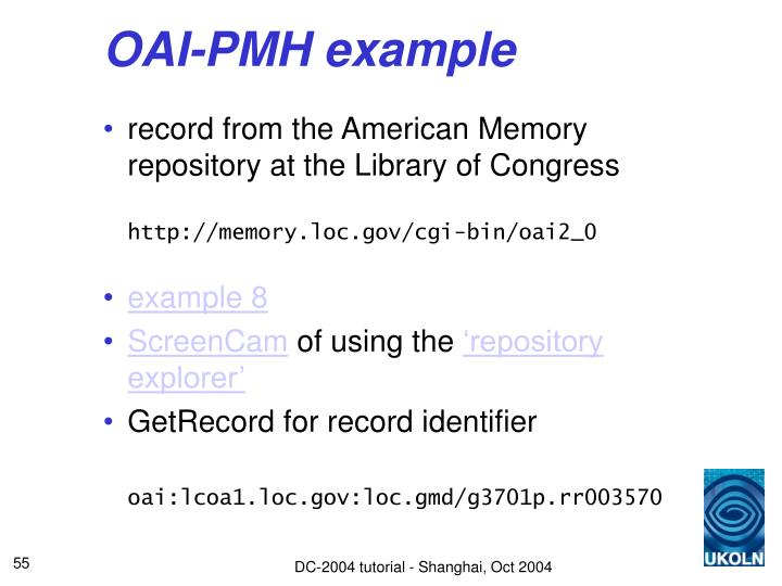 OAI-PMH example