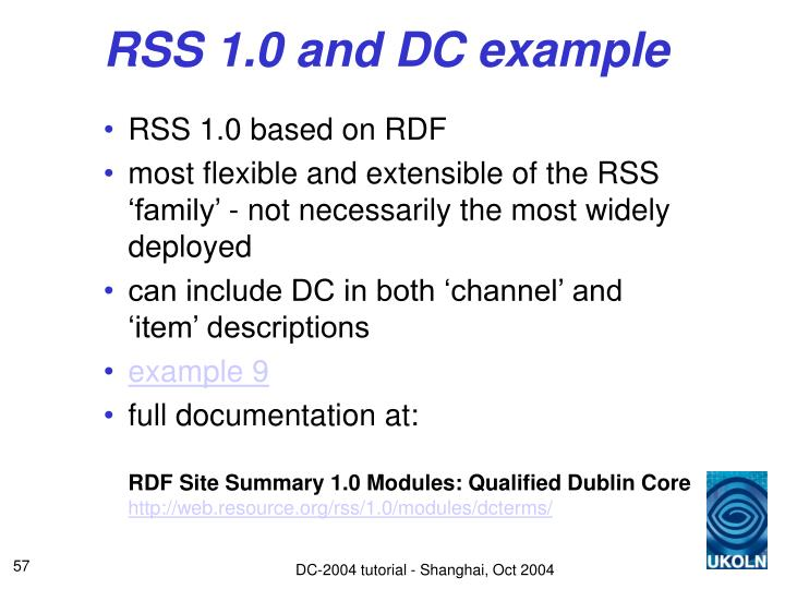 RSS 1.0 and DC example