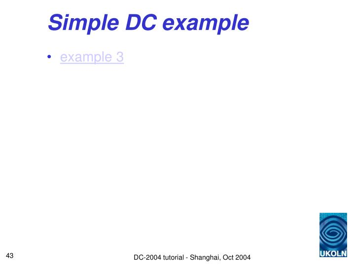 Simple DC example