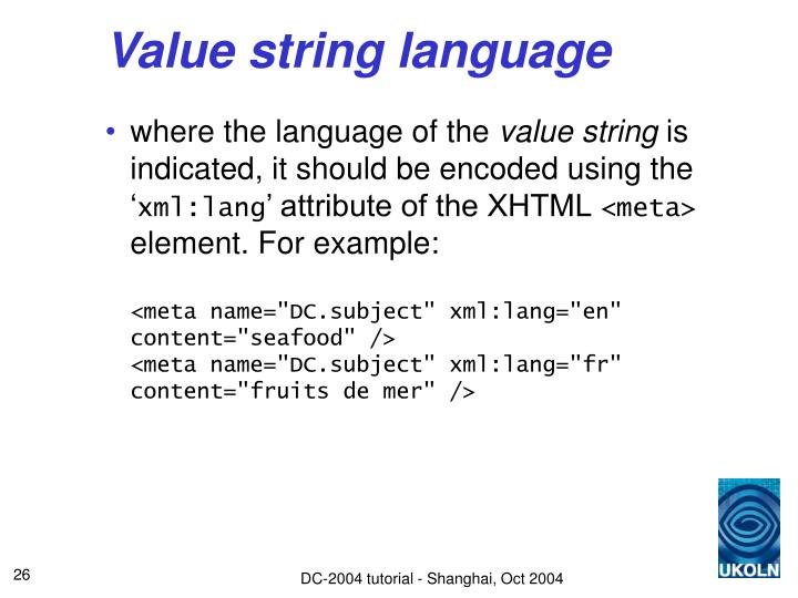 Value string language