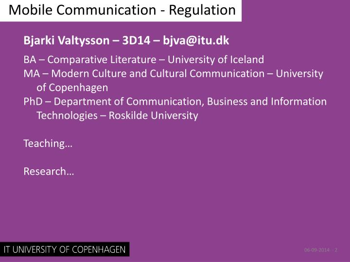 Mobile communication regulation1