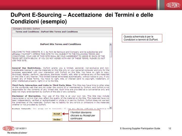 DuPont E-Sourcing – Accettazione  dei Termini e delle Condizioni (esempio)