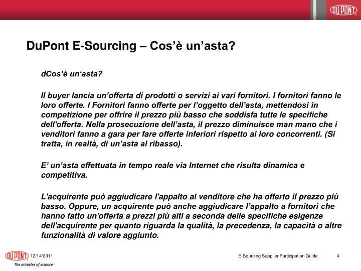 DuPont E-Sourcing – Cos'è un'asta?
