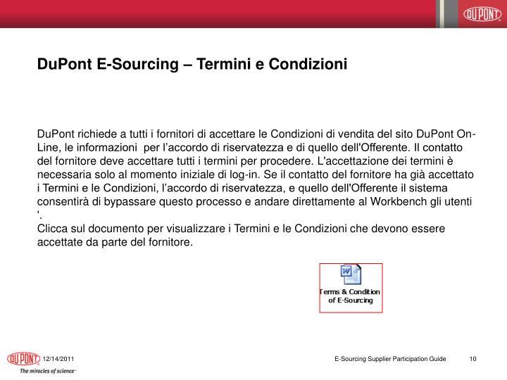 DuPont E-Sourcing – Termini e Condizioni